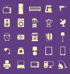 Household color icons on purple background vector