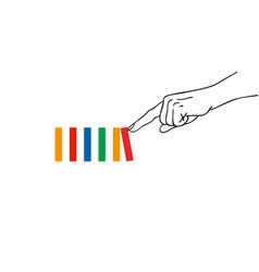 Index finger a hand pushing first domino vector