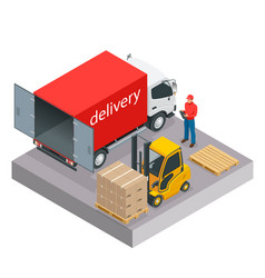 isometric delivery and shipment service vector image