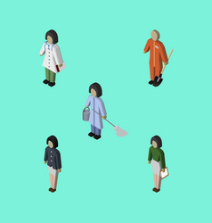 Isometric person set of cleaner pedagogue doctor vector