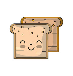 Kawaii cute tender breads nutrition vector