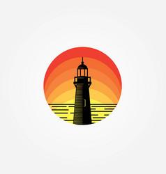 lighthouse sunset sea logo vector image