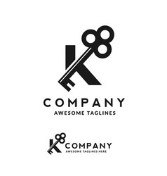 luxury initial letter k and key vector image