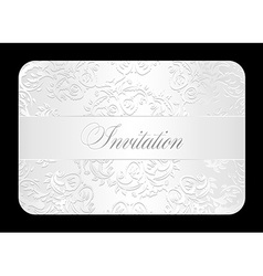 Luxury white wedding invitation with rounded lace vector image