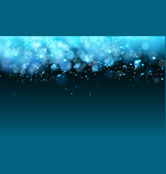 Magic cold lights on blue background bokeh effect vector