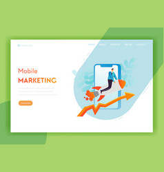 mobile marketing landing page template startup vector image