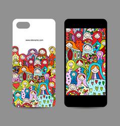 mobile phone design matryoshka russian nesting vector image