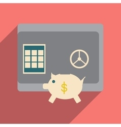 Modern flat icon with shadow safe and piggy bank vector