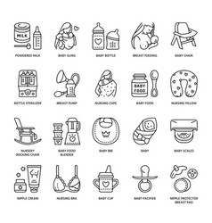 Modern line icon of breastfeeding baby vector