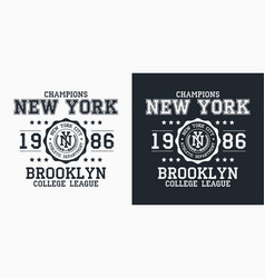 new york brooklyn typography for design clothes vector image