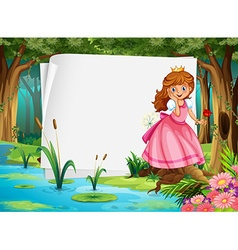 Paper design with princess in the woods vector