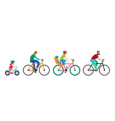 People riding on bicycles in the park vector