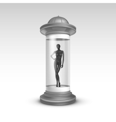Poster Stand Pillar for Advertising with Mannequin vector image