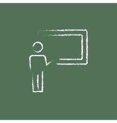 Professor and blackboard icon drawn in chalk vector