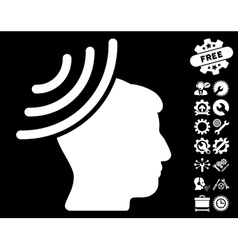 Radio Reception Mind Icon With Tools Bonus vector
