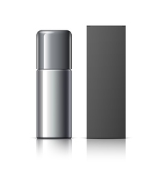 Realistic Black Cosmetics bottle can Spray vector image
