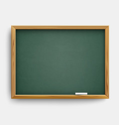 Realistic blank green class board with wooden vector