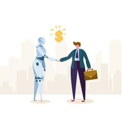 robot and businessman make agreement vector image