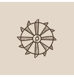 Rotating cutting drum of coal machine sketch icon vector