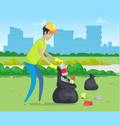 Rubbish in park cleaning environment city vector