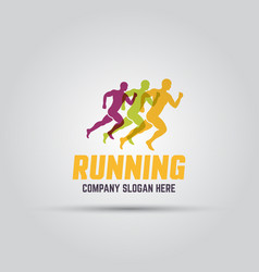 running man abstract isolated colored logo vector image