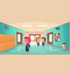 sad lonely muslim girl in school hallway vector image