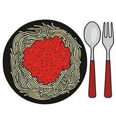 Spaghetti on the black plate vector image
