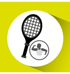 strong man silhouette and racket tennis vector image