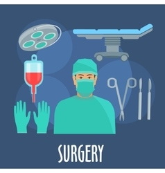 Surgeon in operating room with instruments icon vector
