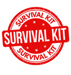 Survival kit grunge rubber stamp vector