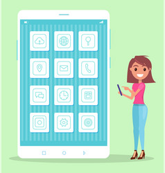 thin line smartphone screen icons cheerful woman vector image