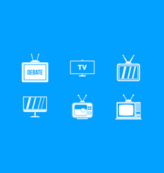 tv icon blue set vector image