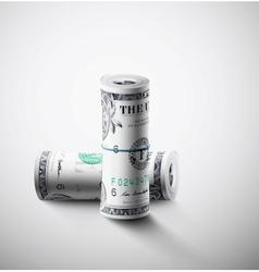 Two rolls dollars vector
