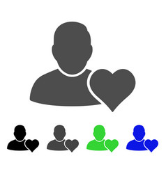 User favourites heart flat icon vector