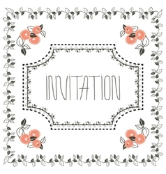 Vintage invitation card with frame and peach vector