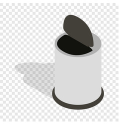 White trash can with pedal isometric icon vector