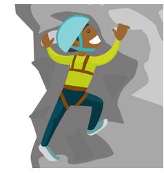 young black man climbing on a rock vector image