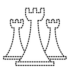 chess rook pieces game strategy symbol vector image