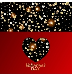 Gold hearts valentine day greeting red card vector image