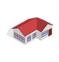 House with red roof icon isometric 3d style vector image vector image