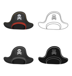 pirate hat with skull icon in cartoon style vector image
