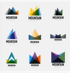 Set of mountain logo geometric designs vector