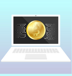 storage bitcoin on a laptop wallet for crypto vector image