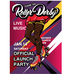 cartoon rollerscate derby advertising poster vector image