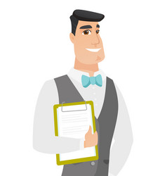 caucasian groom holding clipboard with documents vector image vector image
