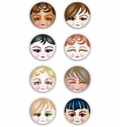 cute girls face icons vector image vector image