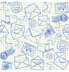 Mail doodles seamless pattern vector image