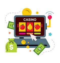 Online casino concept gambling flat style vector