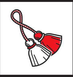 red and white brushes on rope vector image vector image