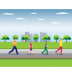Running family family sports active family vector